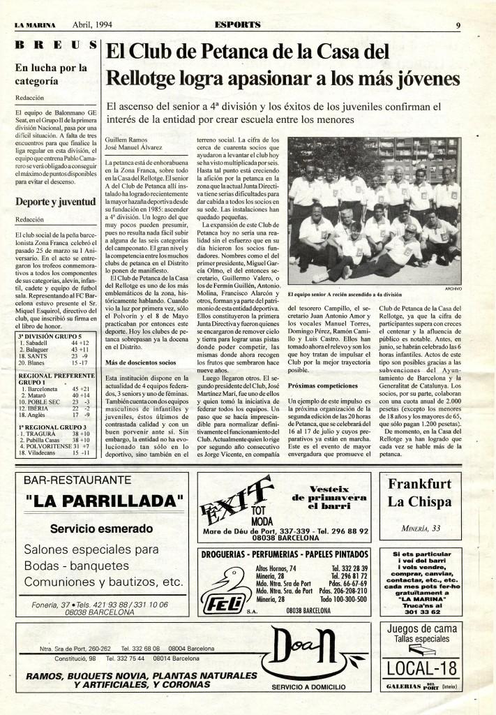 1994 abril club petanca joves ascens esports