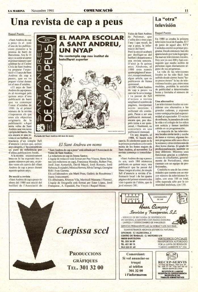 1995 novembre article comunicació sant andreu de cap a peus premsa local