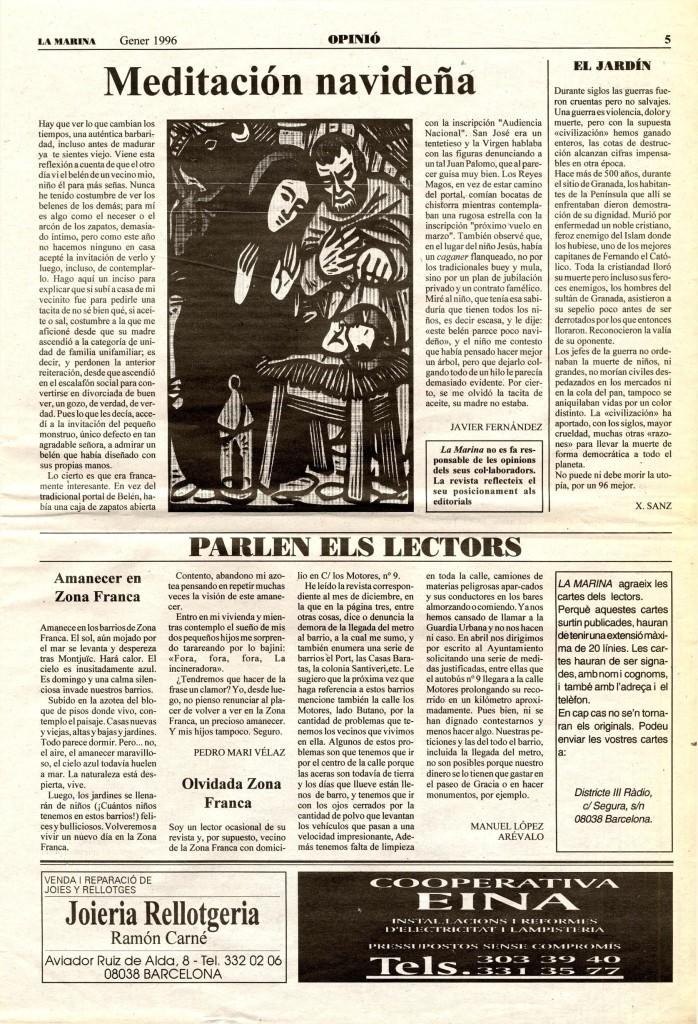 1996 gener meditació nadal article d'opinió
