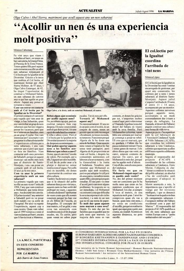1996 juliol agost adopció d'un nen acollir nen saharaui olga calvo i Abel Sierra + col·lecció de la igualtat coordina arribada