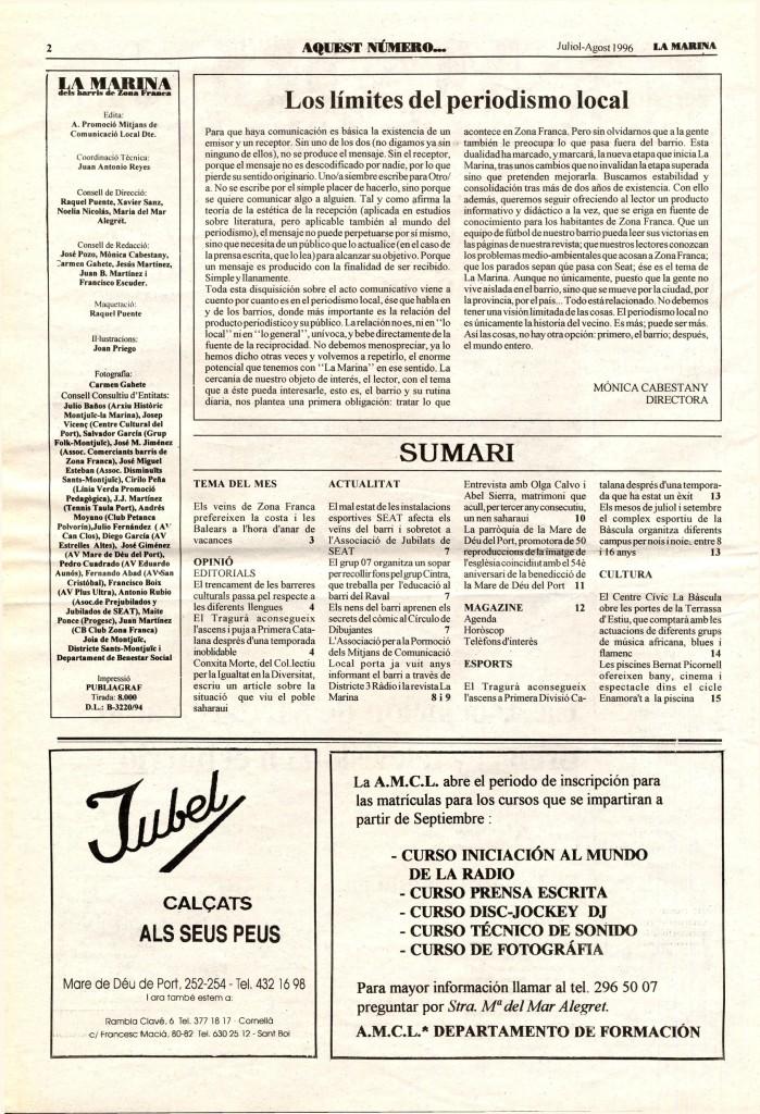 1996 juliol agost editorial periodisme local
