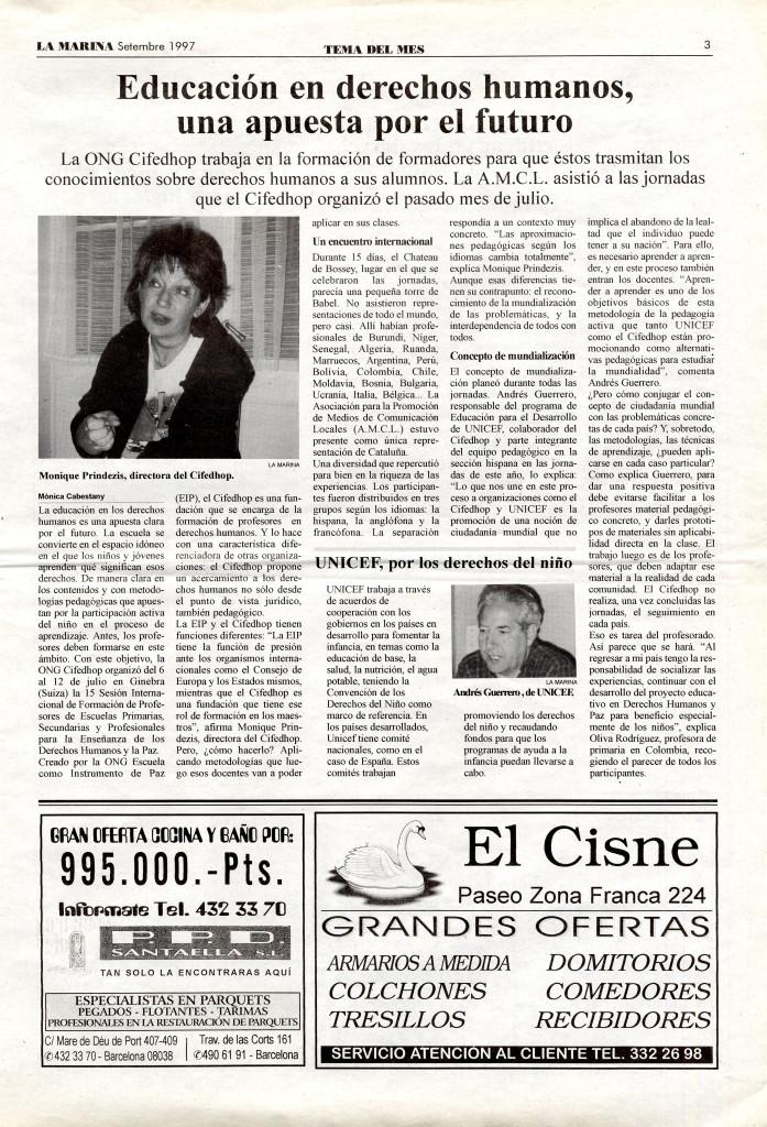1997 setembre tema del mes educació drets humans AMCL