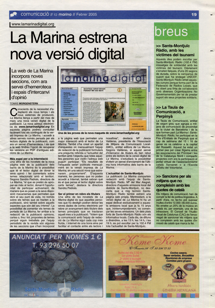 2005 febrer La Marina estrena nova versió digital