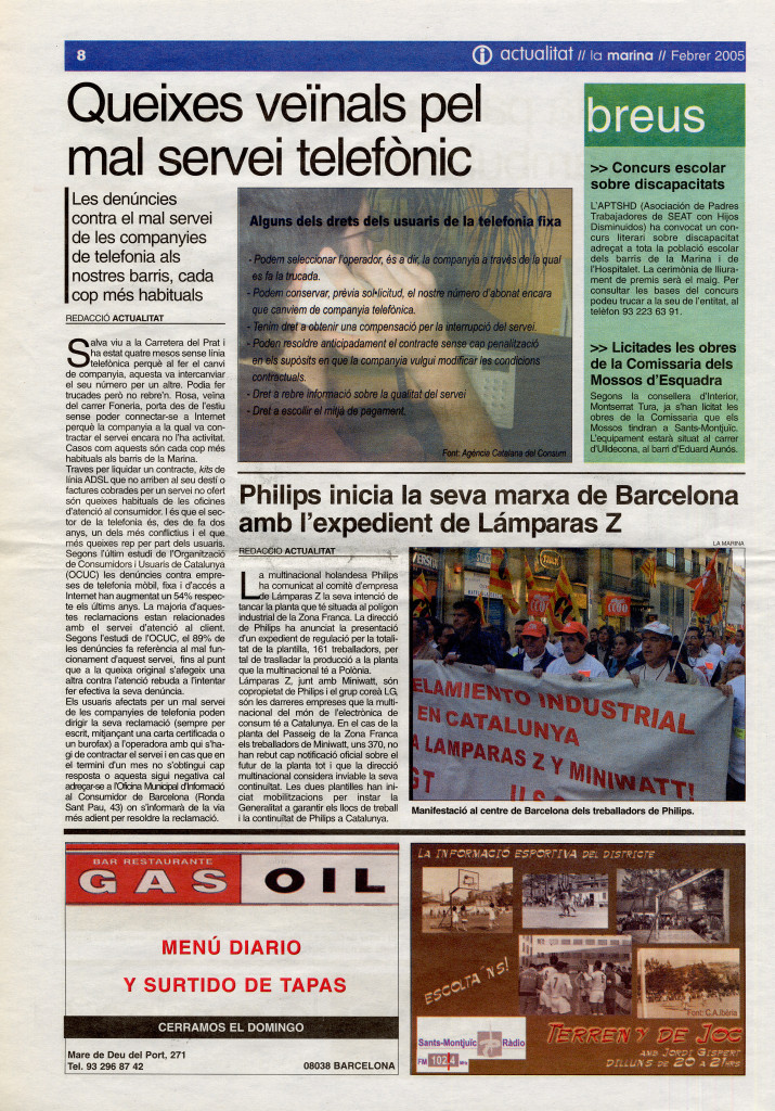 2005 febrer queixes veïnals mal servei telefònic philips marxa de Barcelona amb expedient de Lámparas Z