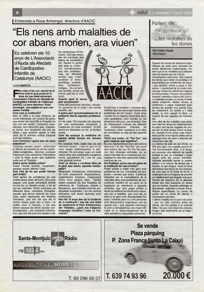 2005 gener entrevista Rosa Armengol AACIC nens malalties cor cardiopaties infantils