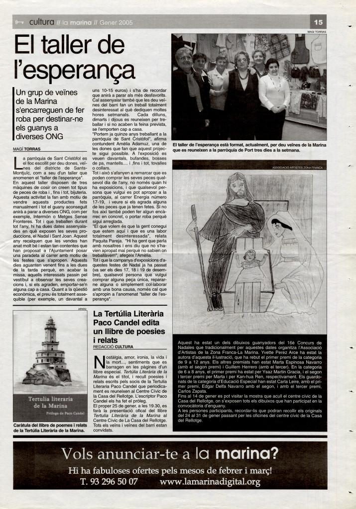 2005 gener grup dones taller roba per destinar guanys a ONG