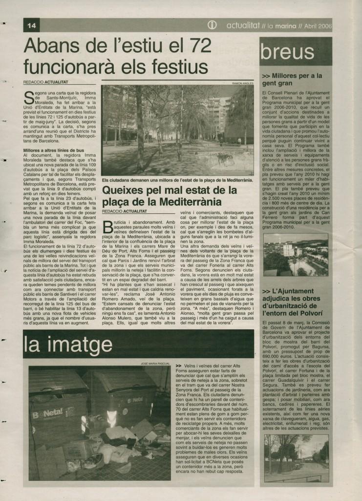 2006 abril bus 72 festius mal estat plaça mediterrània