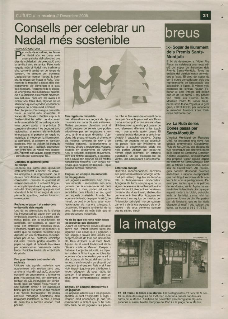 2006 desembre consells per celebrar un Nadal més sostenible sopar lliurament premis Sants-Montjuïc Ruta de les Dones