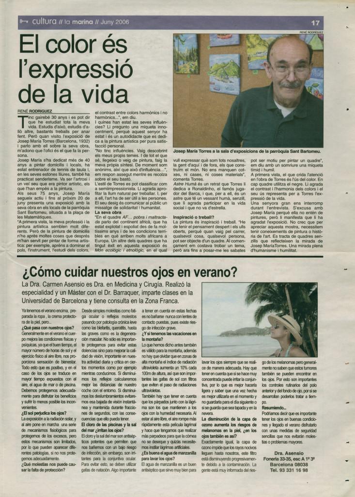 2006 juny entrevista Josep Maria Torres pintor Dra Carmen Asensio cuidar ojos verano