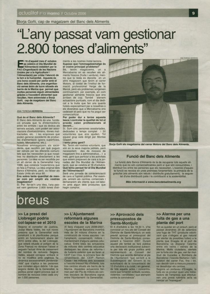 2006 octubre borja goñi banc d'aliments entrevista