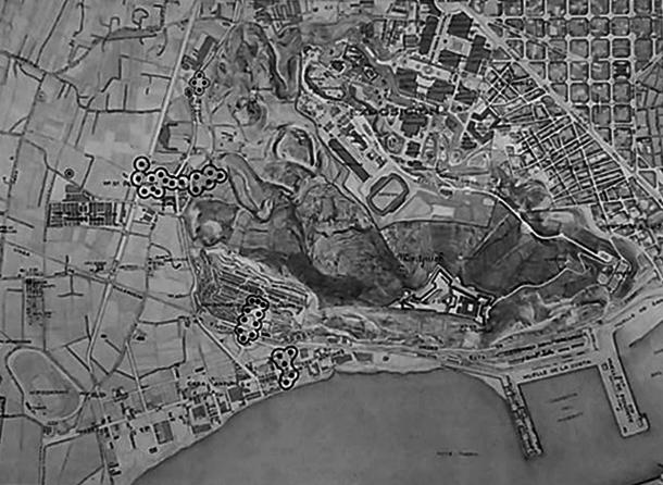 Localització dels bombardeigs a les zones afectades de La Marina. A. Santafé. 2010.