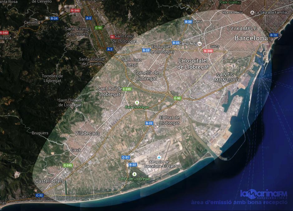 Mapa cobertura La Marina FM